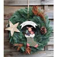 weihnachtlicher Türkranz Willkommen mit Holzdeko