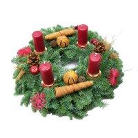 Adventskranz Nobilis mit Zapfen, Orangen, roten...